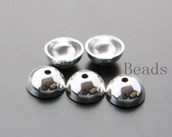 10pcs Shiny Silver Plated Bead Cap - 10mm (1712C-U-64)