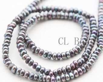 One Strand (15 Inches) Grey Fresh Water Pearl-Irregular 3x2mm (BS196)