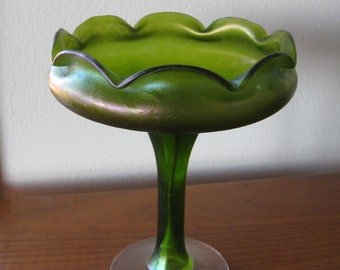 Unsigned Bohemain Art Glass Footed Compote--In the style of  LOETZ Creta Papillon