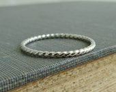 Classic Sterling Silver Stackable Ring - 1 Ring - Narrow 1.5mm - Twisted - Argentium Sterling Silver - Simple Modern Minimal Ring