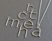 Sterling Silver Initial Necklace - Custom Initial Pendant - One Letter - Simple Modern Minimal Wire Jewelry
