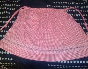 SALE! RED gingham new vintage apron with cross stitch and embroidery - cute!