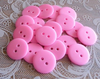20 Pink Matte 2 Hole Buttons 3/4 inch