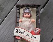 SALE 70's Uneeda Rock-a-tot doll with rocking cradle