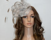 Light grey fascinator hat- New COLOR from the popular fascinator collections