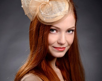 Beige champagne gold fascinator hat for weddings, Ascot, Derby, church