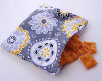 Yellow and Grey Sunshine Reusable Snack Bag
