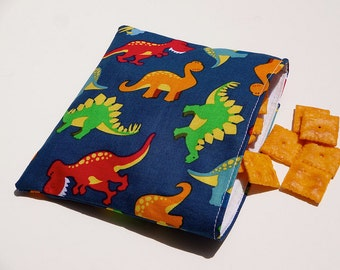Blue Dinosaur Reusable Snack Bag