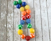 SUPER Chunky Rainbow Girls Chunky Necklace - Rhinestones, Polka Dots - Chunky Beads Necklace - Bubblegum Beads - Summer Photo Props Birthday