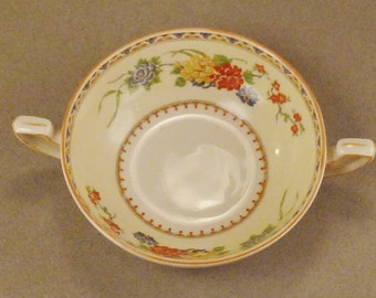 MYOTT STAFFORDSHIRE BOWL Soup England  two Handles enamel floers 6 3/4 in diam, stunning colors 2 in tall