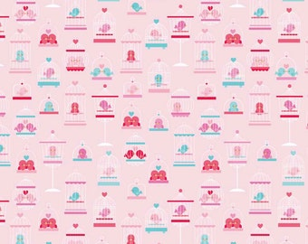 Clearance FABRIC LOVEY DOVEY Love Birds in Pink by Riley Blake 1/2 Yard