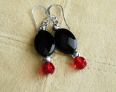 Faceted Black Onyx and Siam Red Crystal Earrings with Sterling Silver, Black Onyx Earrings, Gemstone Jewelry, Black and Red Earrings
