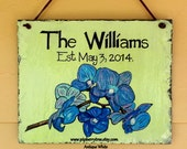 Hand Painted Decorative Personalized  Slate Sign - Blue Purple Orchids