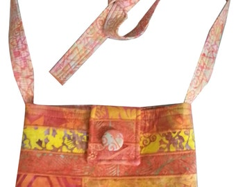 Large Cross Body Hip Purse in Orange Batik