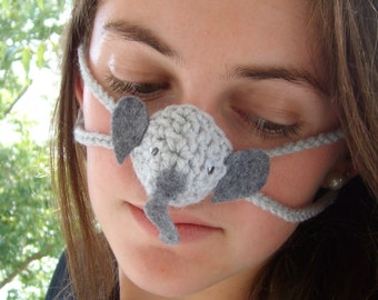 Elephant Nose Warmer, Nose Cozy, Tween, Teen, Adult, Gag Gift, Nose Mitten, Fun Crochet, School Mascot, Winter Nose Cover, Girlfriend gift