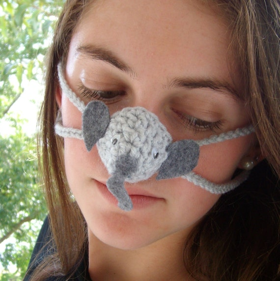 Crochet Nose Warmer : Elephant Nose Warmer, Nose Cozy, Tween, Teen, Adult, Gag Gift, Nose ...