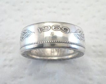 Sizes 8 1/2 - 14 1/2. Coin Ring.  Swiss Silver 5 Francs. Place Your Custom Order Here.