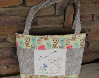 Large Patchwork Tote - Purfect Kitty