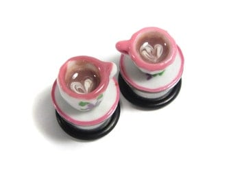 "9/16"" Teacup Plugs - Heart Latte Coffe Cup Plugs"