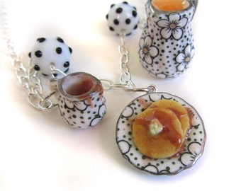 Pancake Breakfast Charm Necklace - Polymer Clay Food