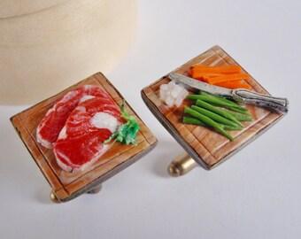 Ribeye Steak Dinner Cufflinks - Food Prep Cuff Links - Miniature Food Art Jewelry Collectable - Schickie Mickie Original 100% Handmade