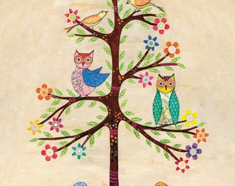 Children Decor, Children Art, Boy and Girl Nursery Prints, Owl Bird Tree Art Print, 40x50 cm, Large Art Print, Nursery Decor, Nursery Art