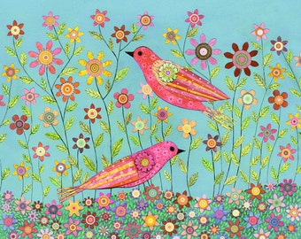 Bohemian Birds and Flower Art Print, Mixed Media Painting Art Print for Home Decor