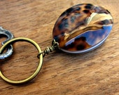 Rustic Brass Keyring or Purse Charm with Polished Shell Accent: Continental