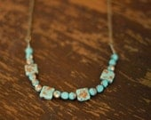 Glass Bead Necklace - turquoise and bronze colours, square, brass chain boho hippy bling