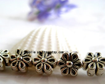 Ship from USA-  DAISY Flower Antiqued silver pewter spacer beads 6mm- Flower Fancy  beads  beading,findings supplies,oxidized finished