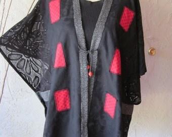 Tunic Vest Jacket With Black Lace