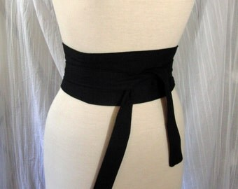 Obi Belt - Black Reversible Corset Waist Cincher Any Size