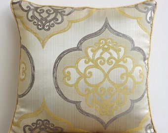 "Luxury Yellow Throw Pillows Cover, 16""x16"" Jacquard Pillow Covers, Square  Damask Throw Pillows Cover - Damask Galore"