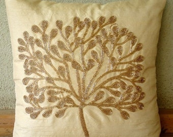 "Handmade Gold Pillow Covers, 16""x16"" Silk Pillows Covers For Couch, Square  Beaded Tree Pillows Cover - The Gold Tree"