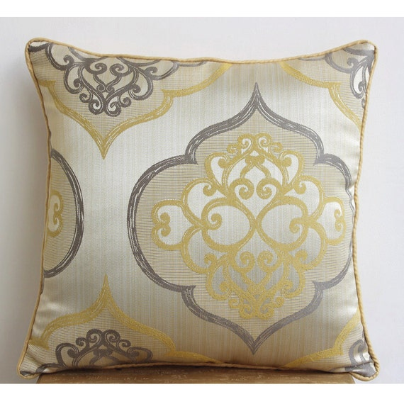 Luxury Yellow Throw Pillows Cover Damask Throw Pillows Cover