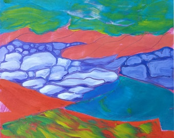 Quartzville Creek 7 original plein air abstract landscape oil painting