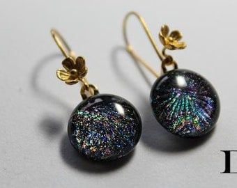 Dichroic glass earrings with Bali gold vermeil earring hooks