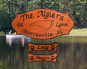 State Outline - Family Name Wooden Camp Sign with 2 add ons - Personalized Carved Redwood