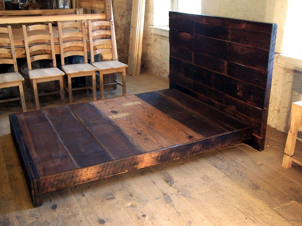 asian style low platform bed from reclaimed by. Black Bedroom Furniture Sets. Home Design Ideas