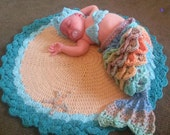 Baby Mermaid set complete with beach blanket - for Newborn to 3 months
