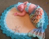 Baby Mermaid set complete with beach blanket - for Newborn to 3 months - Great Baby Shower gift