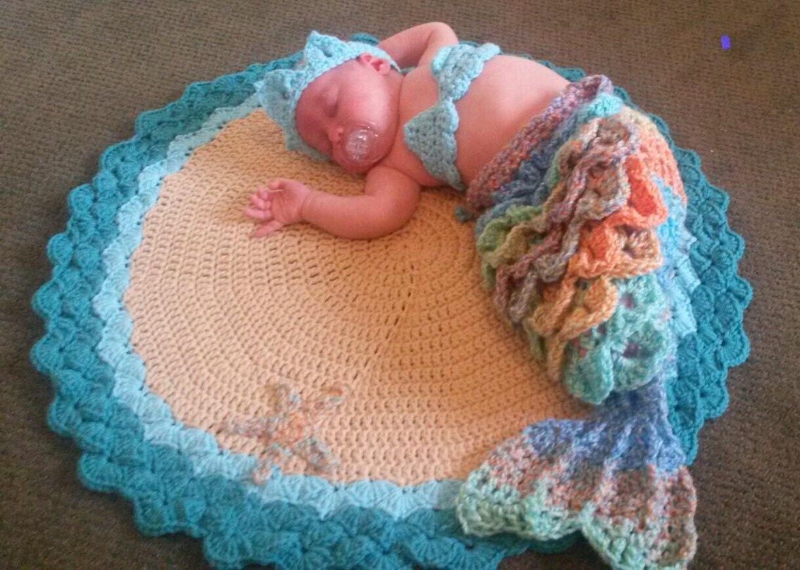 Baby Mermaid Set Complete With Beach Blanket For Newborn To