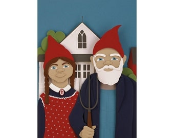 Gnomerican Gothic - gnomes postcard art print of an original paper sculpture by Tiffany Budzisz