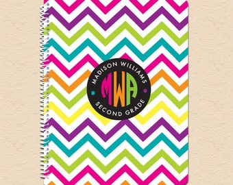 Neon Chevron - Circle Monogram - Personalized, Custom Spiral Notebook