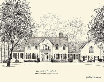 House Portrait - Custom Pen and Ink Drawing  - First Anniversary or Housewarming Gift