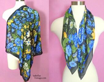 Vintage Floral Scarf - Blues, Golds, Greens on Black