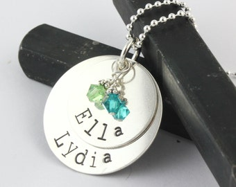 Mother's Day Gift for Mom - Two Sterling Silver Discs Birthstone Necklace - Custom Handstamped Personalized Gift for Mom