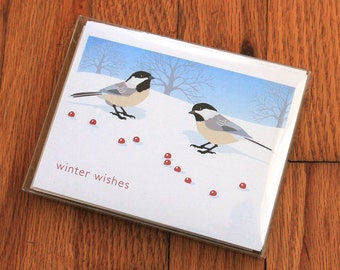 Chickadee holiday cards with envelopes (pack of 10)