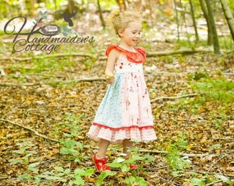 The Handmaiden's Cottage Paneled Patchwork Dress PDF Pattern, Sizes 6 months through size 8