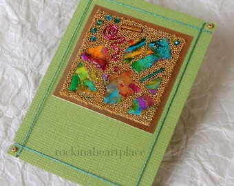 ACEO - Original Art Card - Microbead Collage ACEO - green, blue, red, yellow and orange